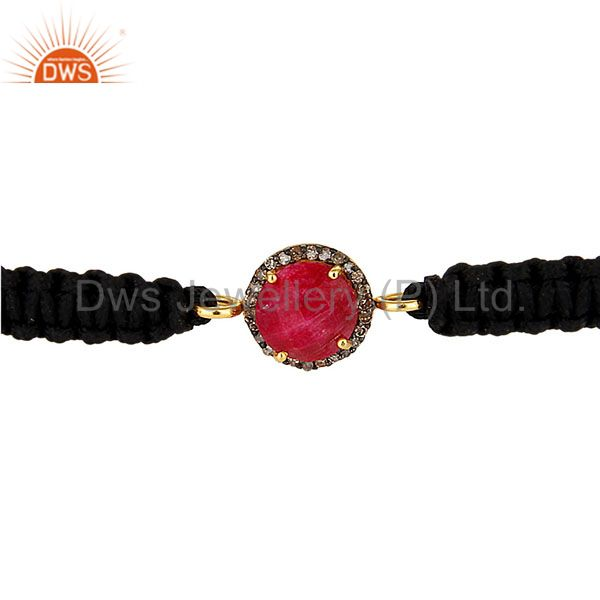 Exporter 18K Gold Sterling Silver Pave Diamond And Ruby Black Cord Macrame Bracelet
