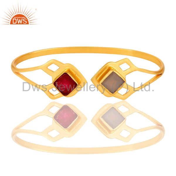 Exporter Natural Red Aventurine and Dyed Gray Chalcedony 18K Gold Plated Handmade Cuff
