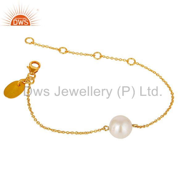 Exporter 18k Gold Plated Sterling Silver Cable Link Chain Bracelet with Pearl