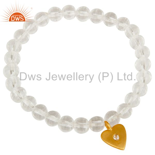 Exporter 18k Yellow Gold Plated Sterling Silver Heart Bead Bracelet with Topaz & Quartz