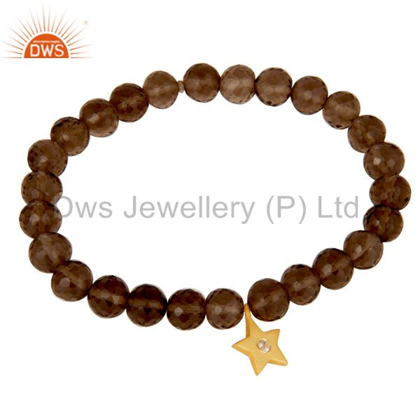 Exporter 18k Yellow Gold Plated Sterling Silver Star Bead Bracelet with Smokey & Topaz
