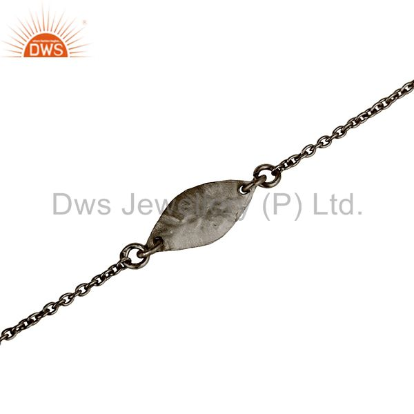 Exporter Luxury Black Oxidized 925 Sterling Silver Fashion Jewellery Chain Bracelet