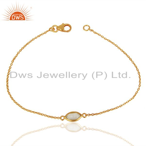 Exporter Crystal Quartz Simple Marquise Shape Gold Plated 92.5 Simple Wholesale Jewelry