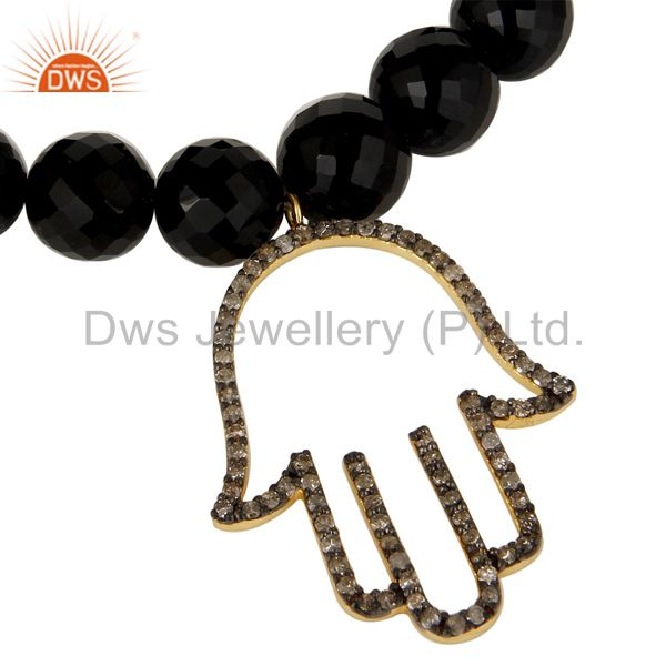 Exporter 18k Gold Plated Sterling Silver Hand Design Diamond & Black Onyx Charms Bracelet
