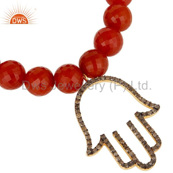 Exporter 18k Gold Plated Sterling Silver Hand Design Diamond & Red Onyx Charms Bracelet