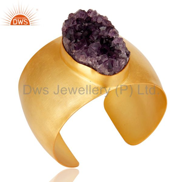 Exporter Traditional Handmade 22K Gold Plated Wide Druzy Amethyst Openable Brass Bangle