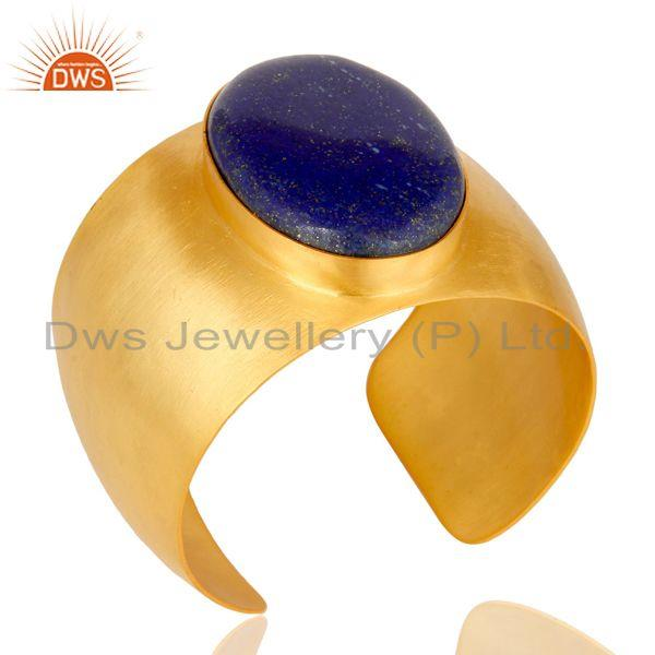 Exporter Traditional Handmade 22K Gold Plated Wide Lapis Lazuli Openable Brass Bangle