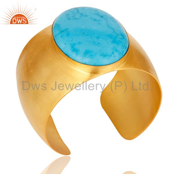 Exporter Traditional Handmade 22K Gold Plated Natural Turquoise Openable Brass Bangle