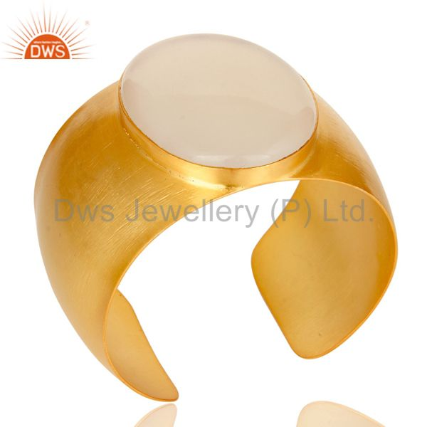 Exporter Traditional Handmade 22K Gold Plated Natural Chalcedony Openable Brass Bangle