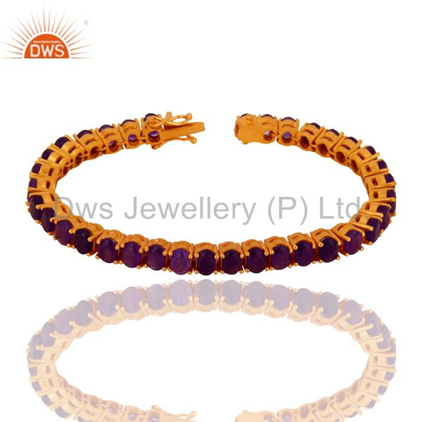 Suppliers 18K Yellow Gold Plated Sterling Silver Purple Chalcedony Fashion Tennis Bracelet