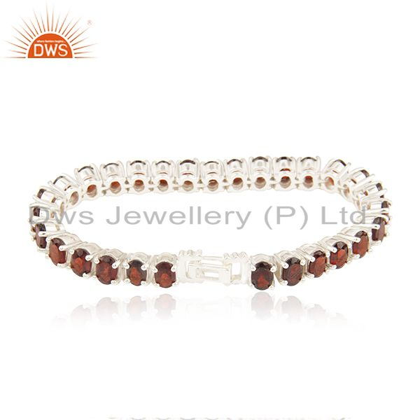 Exporter Natural Garnet Gemstone 925 Sterling Silver Single Strand Bracelet Wholesale