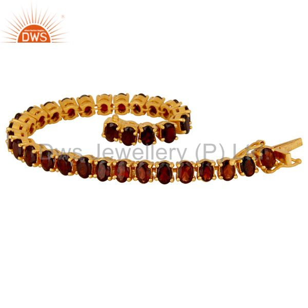Suppliers 18K Yellow Gold Plated Sterling Silver Garnet Gemstone Tennis Bracelet