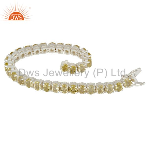 Suppliers 925 Sterling Silver Lemon Topaz Gemstone Tennis Bracelet