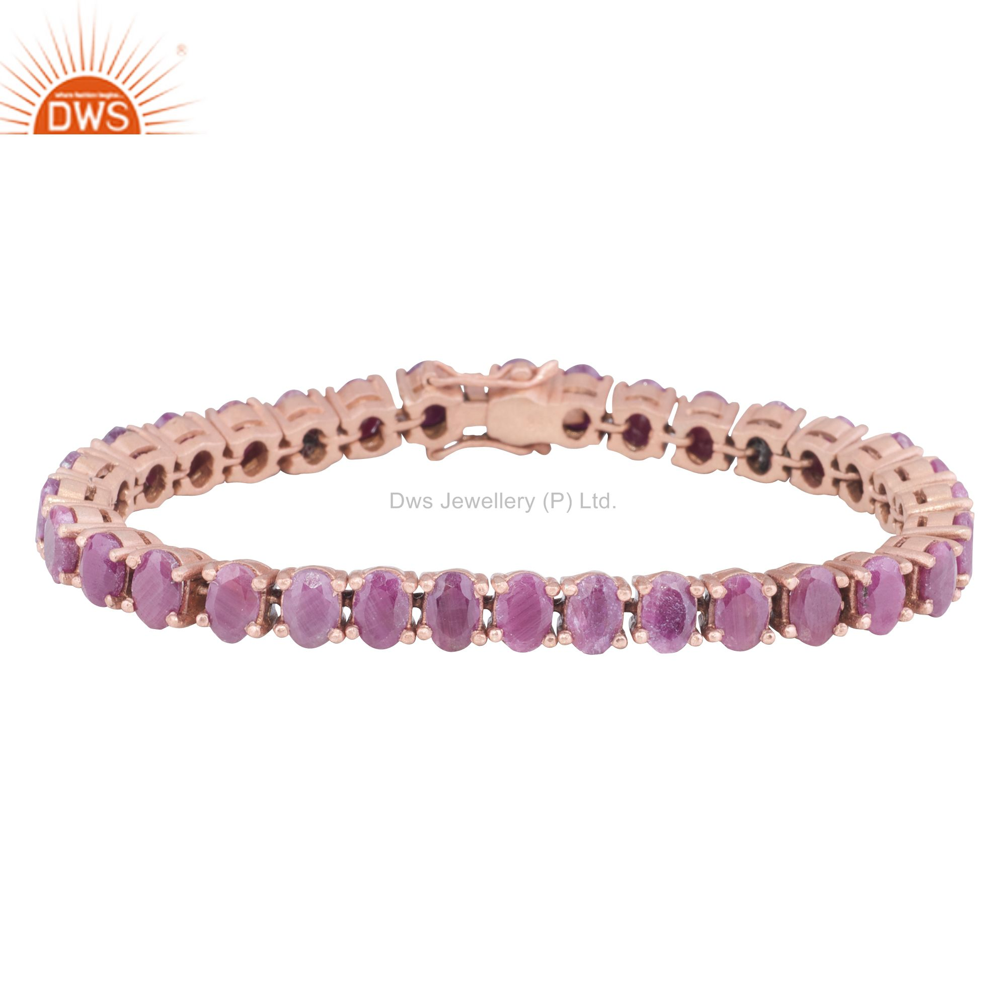 Exporter 18K Yellow Gold Plated Sterling Silver Ruby Gemstone Cluster Bracelet
