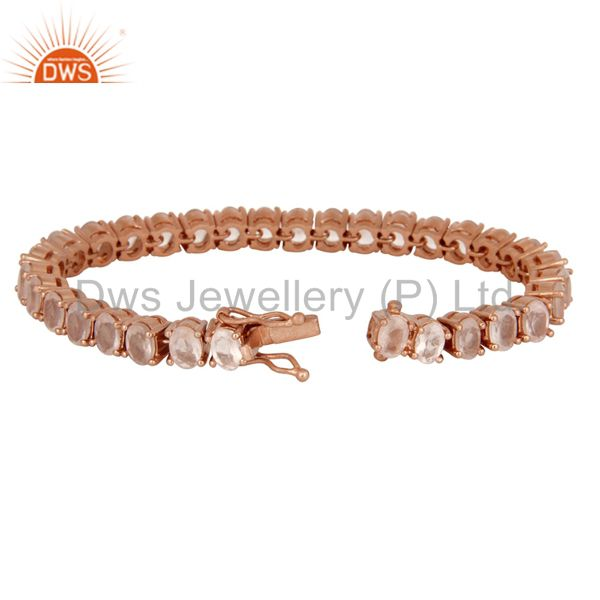 Suppliers 18K Rose Gold Plated Sterling Silver Rose Quartz Gemstone Womens Tennis Bracelet