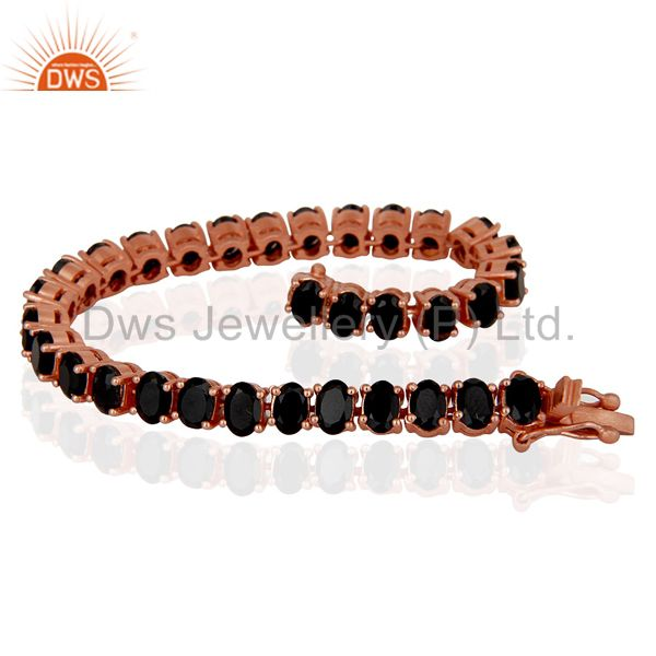 Exporter 18K Rose Gold Plated Sterling Silver Black Onyx Tennis Bracelet Jewelry