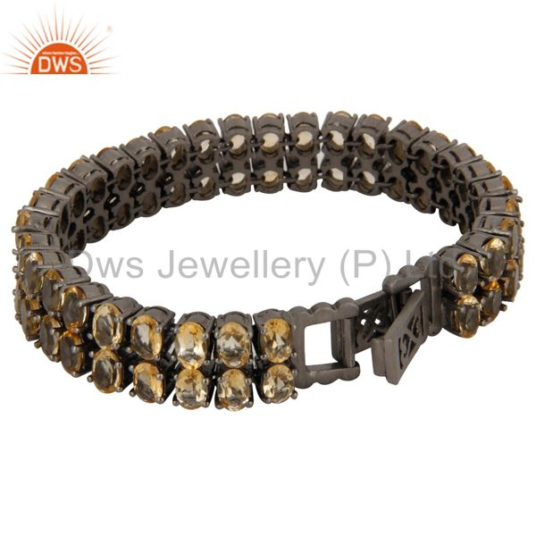 Exporter Oxidized Sterling Silver Natural Citrine Gemstone Tennis Bracelet Jewelry