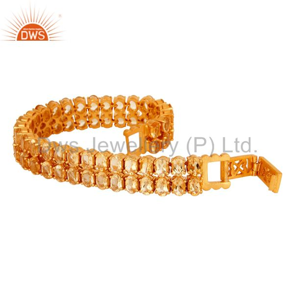 Exporter 18K Yellow Gold Plated Sterling Silver Citrine Gemstone Tennis Bracelet Jewelry