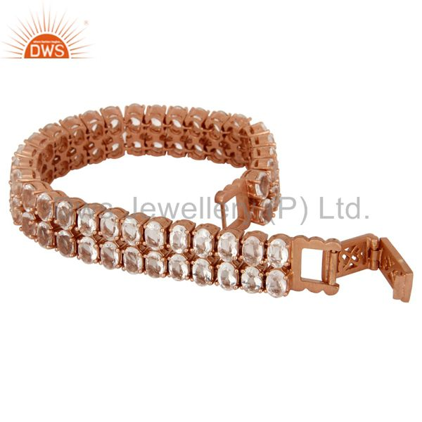 Exporter 18K Rose Gold Plated Sterling Silver Crystal Quartz Gemstone Tennis Bracelet
