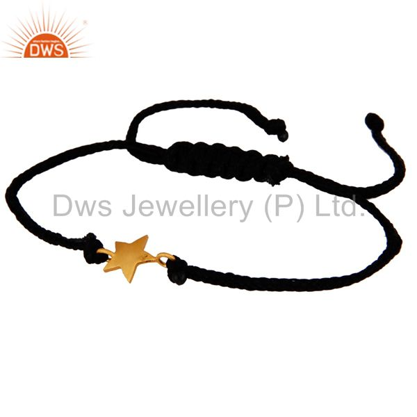 Exporter 18K Yellow Gold Plated Sterling Silver Star Charm Black Cord Macrame Bracelet