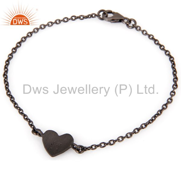 Exporter Oxidized Sterling Silver Heart Charms Link Charms Bracelet With Lobster Lock