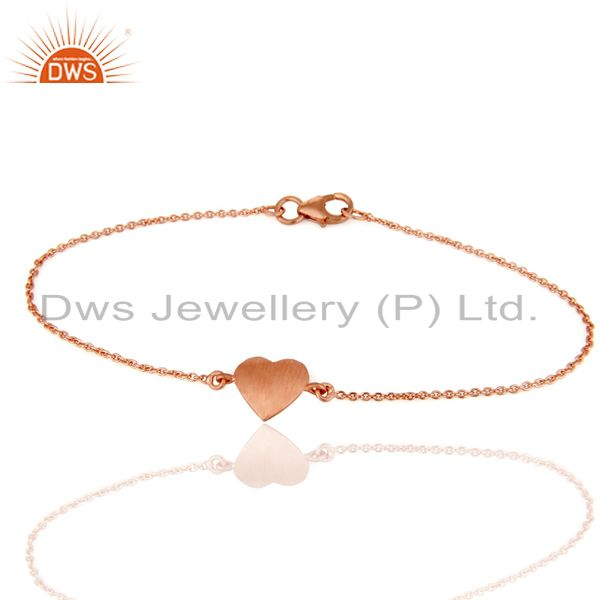 Exporter 18K Rose Gold Plated Sterling Silver Heart Chain Bracelet Jewelry