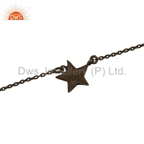 Exporter Black Rhodium Plated Sterling Silver Star Charm Link Chain Bracelet With Lobster