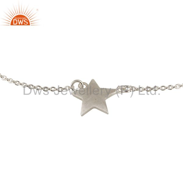 Suppliers Womens 925 Sterling Silver Star Charm Link Chain Bracelet