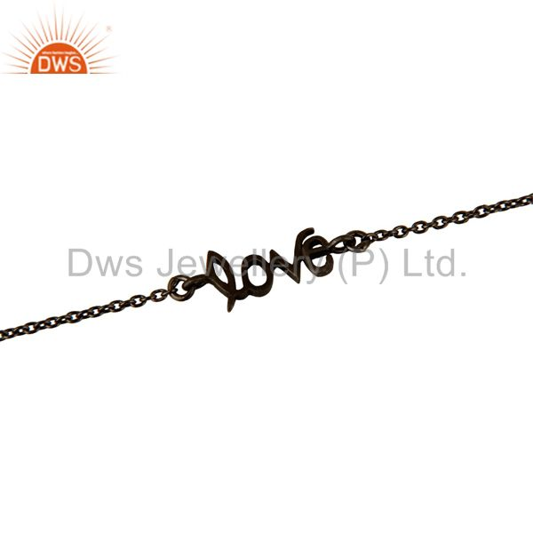 Suppliers Black Rhodium-plated Sterling Silver Love Link Chain Bracelet With Lobster Lock