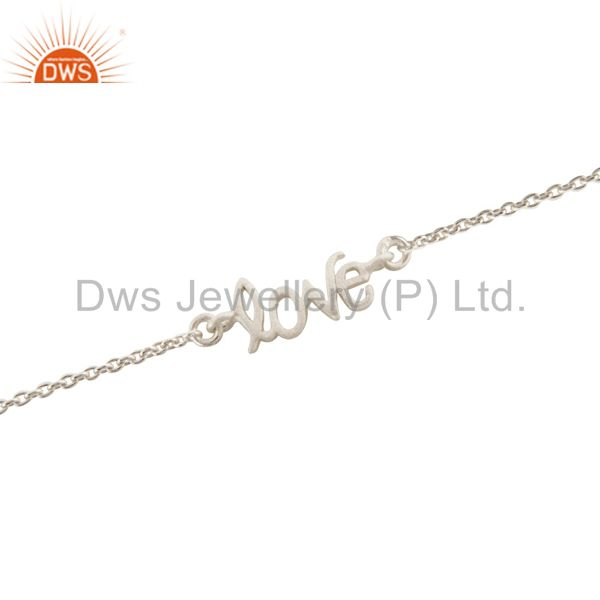 Wholesalers Handcrafted Solid Sterling Silver Cursive Style Love Word Chain Bracelet
