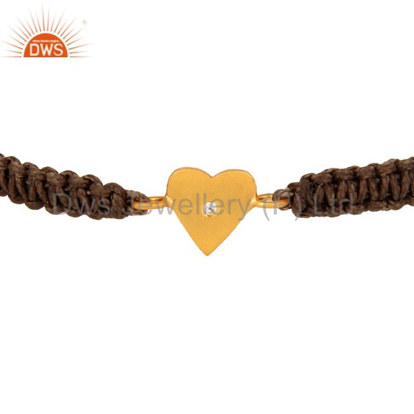 Suppliers 22K Yellow Gold Plated Sterling Silver White Topaz Heart Charm Macrame Bracelet