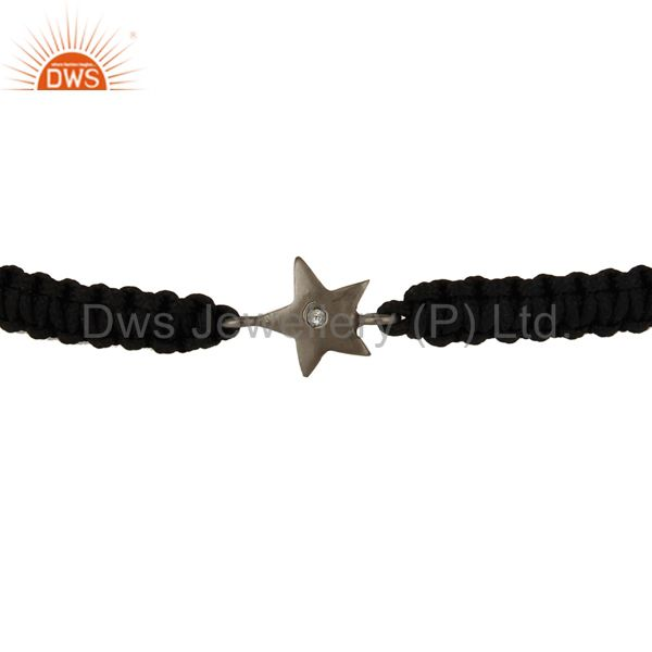 Suppliers Oxidized Sterling Silver White Topaz Round Cut Star Charm Macrame Bracelet