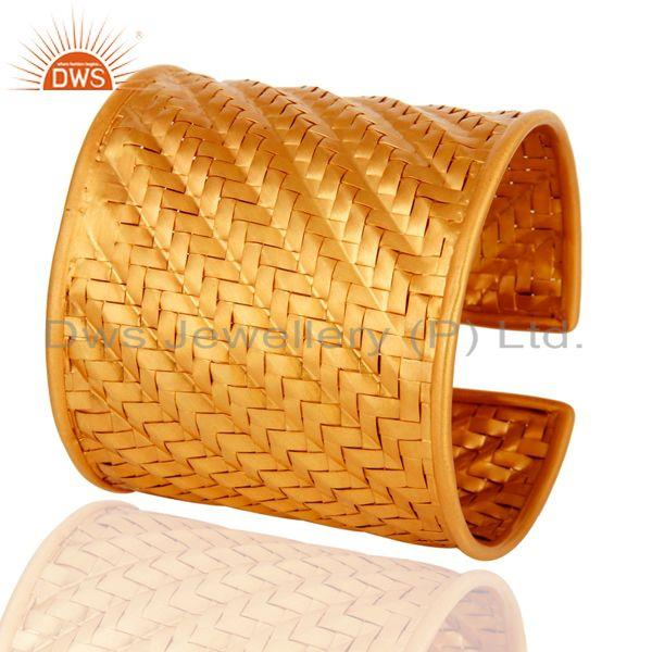 Exporter Handmade Wire Mesh Gold Plated Sterling Silver Cuff Bangle Wholesaler