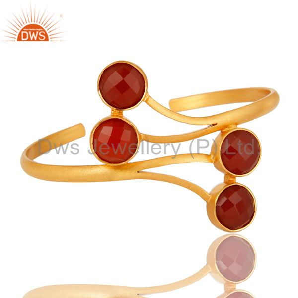 Wholesalers 14K Yellow Gold Plated Handmade Red Onyx Gemstone Bangle Cuff Bracelet