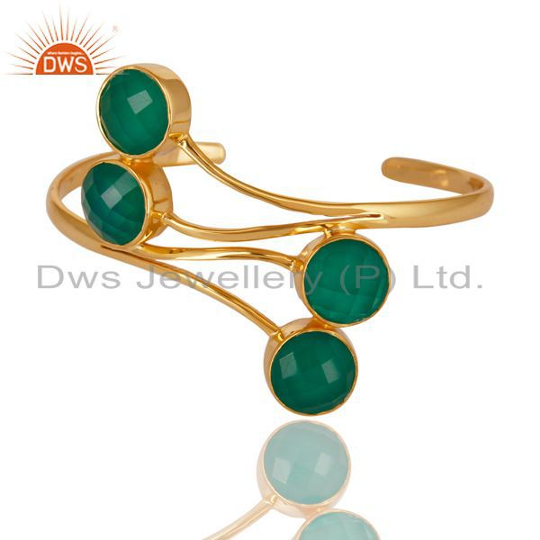 Exporter 14K Gold Plated 925 Sterling Silver Handmade Green Onyx Wide Cuff Jewelry