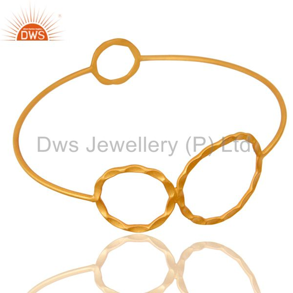 Supplier of 22k yellow gold plated 925 silver hammered circle stackable bangle