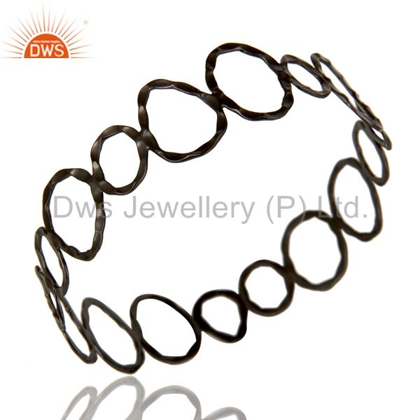 Black oxidized sterling silver hammered open circle wide bangle Exporter