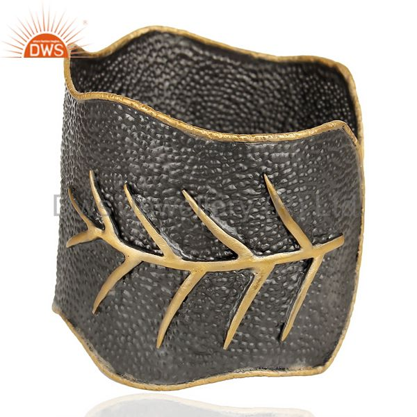 Exporter Traditional Handmade Leaf Design 14K Gold Plated Textured Fashion Cuff Bangle