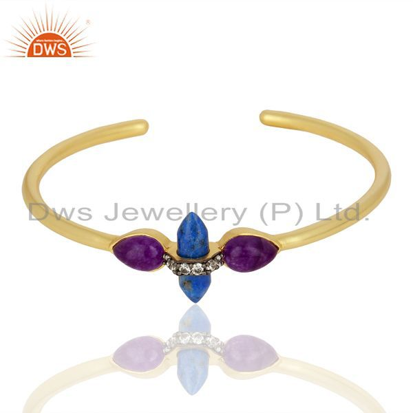 Supplier of Lapis and cz gemstone gold plated fashion cuff bangle supplier