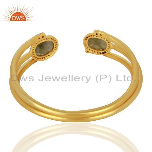 Exporter Handmade Gold Plated Labradorite Gemstone CZ Fashion Bangle Jewelry