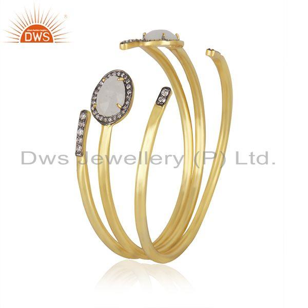Exporter CZ Rainbow Moonstone Gold Plated Fashion 3 Cuff Bangle Set Jewelry