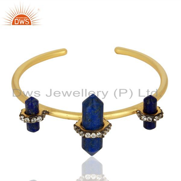 Supplier of Natural lapis gemstone gold plated fashion cuff bangle manufacturer