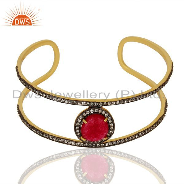 Exporter Handmade Gold Plated Fashion Gemstone Cuff Bracelet Supplier Jewelry