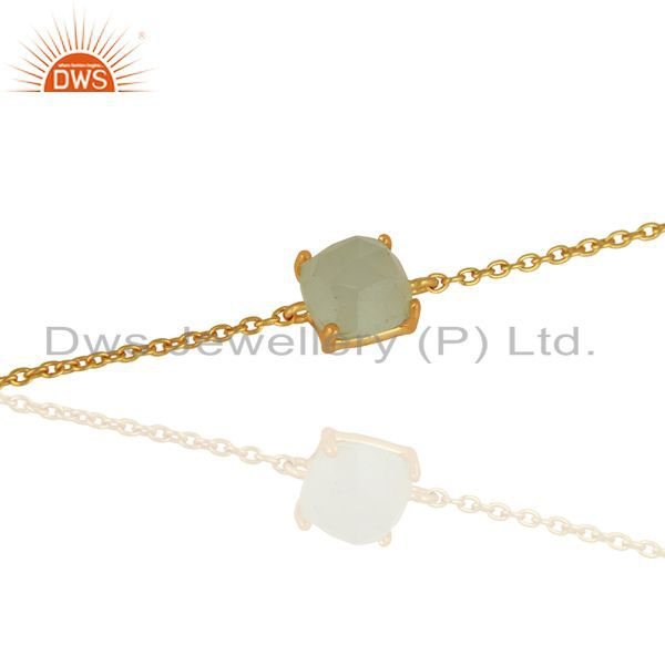 Exporter Aqua Chalcedony Chain And Link 14K Gold Plated 925 Sterling Silver Bracelet
