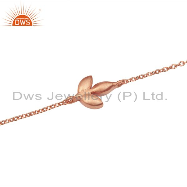 Exporter 14K Rose Gold Plated 925 Sterling Silver Handmade Design Chain Bracelet Jewelry