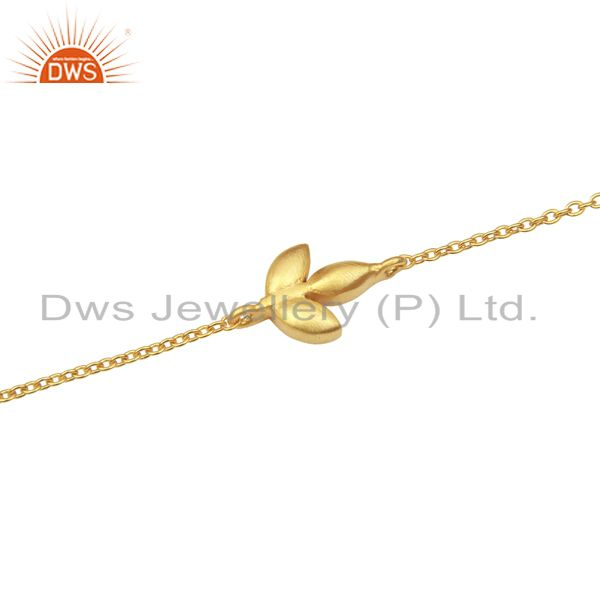Exporter 14K Yellow Gold Plated Sterling Silver Handmade Design Chain Bracelet Jewelry