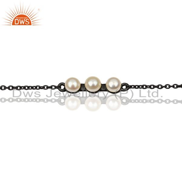 Exporter Pearl Chain Link Black Oxidized 925 Sterling Silver Bracelet Jewelry