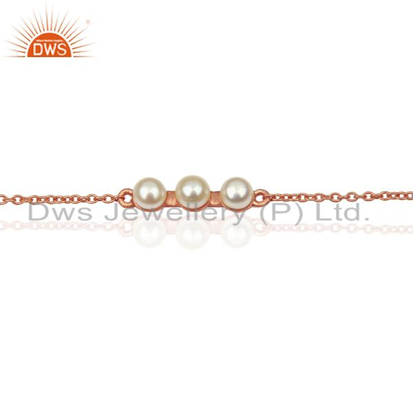 Exporter Pearl Chain Link 14K Rose Gold Plated 925 Sterling Silver Bracelet Jewelry