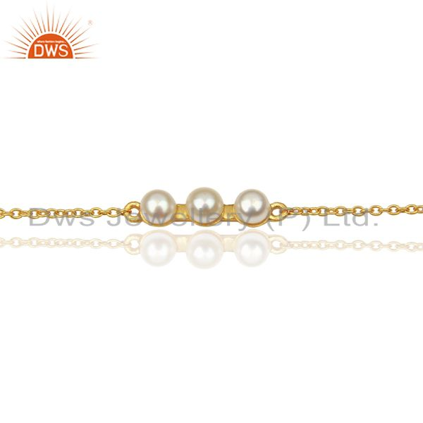 Exporter Pearl Chain Link 14K Yellow Gold Plated 925 Sterling Silver Bracelet Jewelry