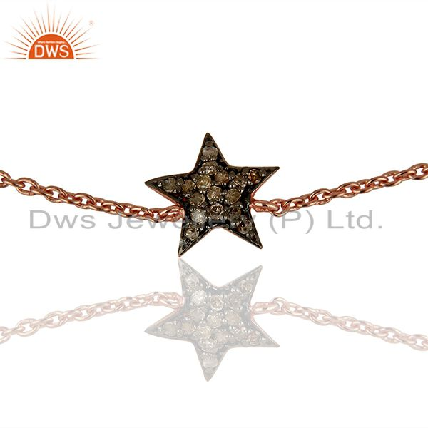 Exporter Star Design Pave Diamond Silver Chain Bracelet Jewelry Supplier